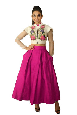 Amazing Pink Color Embroiderd Indo Western Semi Stitched Lahenga Choli