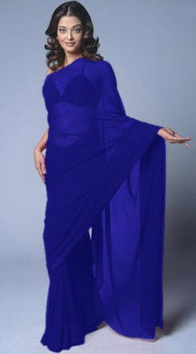 Blueviolet Colour Wedding  Georgette Plain Saree  Bollywood Belly Dance Party Wear