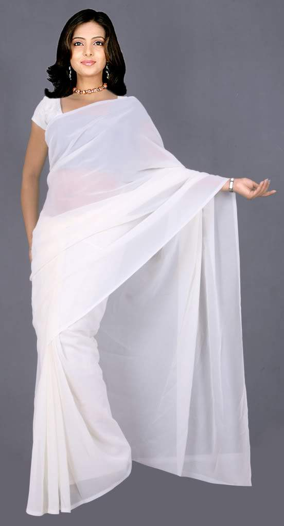White Colour Wedding  Georgette Plain Saree  Bollywood Belly Dance Party Wear
