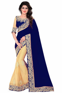 Phenomenal Navy Blue &  Cream Lycra + Georgette Embroidered Delectable Saree