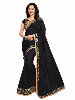 Invented Black &  Navy Blue Shaded Paper Silk Embroidered Dazzling Saree