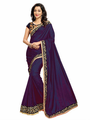 Beading Motif Navy Blue Shaded Paper Silk Embroidered Dazzling Saree