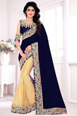 Fashionable Black &  Cream Lycra &  Georgette Embroidered Amazing Saree