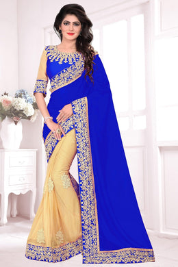 Attractive Designer Blue &  Cream Lycra &  Georgette Embroidered Amazing Saree
