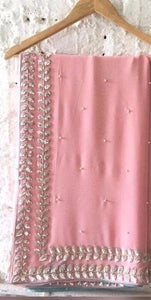 Wedding Collection Baby Pink &  Grey Georgette Embroidered Work Amazing Saree