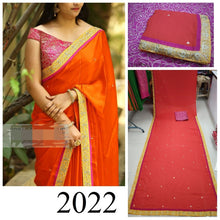 Exclusive Red Chinon Silk With Fancy Stone And Diamond Saree