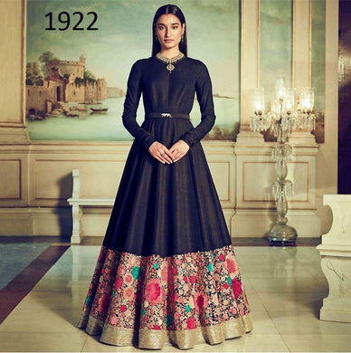 Impressive Cream &  Navy Blue Tapeta Sillk Embroidered Long Tiptop Gown