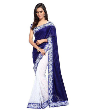 Blue Velvet Embroidered Designer Saree