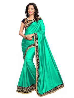 New Arrival Women's Firozi Paper Silk Saree With Velvet Blouse Piece