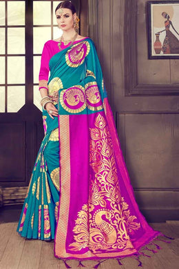 Multicolor New Trendy Latest Golden Zari  Digital Print Saree