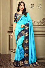 Awesome Latest Bueatiful Designer Fancy Blue Colour Saree