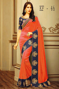 Awesome Latest Bueatiful Designer Fancy Orange Colour Saree