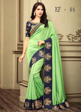 Awesome Latest Bueatiful Designer Fancy Pista Colour Saree