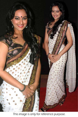 Offwhite Colour Foil  Saree Exclusive Beautiful Designer Bollywood Indian Partywear Sari 121