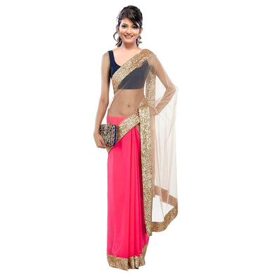 Beige And Pink Half Half Saree Exclusive Beautiful Designer Bollywood Indian Partywear Sari 139