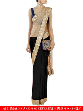 Beige And Black Half Half Saree Exclusive Beautiful Designer Bollywood Indian Partywear Sari 139