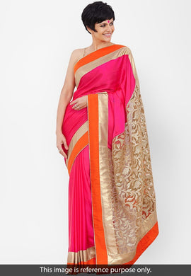 Pink And Beige New Designer Indian Saree Bollywood Georgette Embroidered Party Sari 146