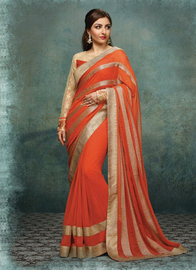 Orange Colour Saree Exclusive Beautiful Designer Bollywood Indian Party Wear Sari 159