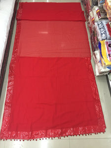 Red Colour Saree Exclusive Beautiful Designer Bollywood Indian Partywear Sari 16
