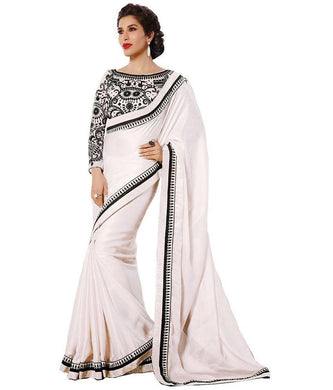 Offwhite Colour Saree Exclusive Beautiful Designer Bollywood Indian Party Wear Sari 170