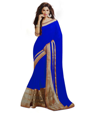 Blue Colour Georgette Saree Exclusive Beautiful Designer Bollywood Indian Partywear Sari 181