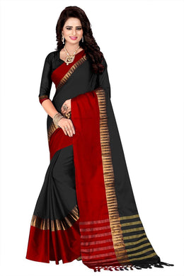 Black Colour Awesome Attractive Designer Hot Lattest Cotton Weaving Saree With Blouse