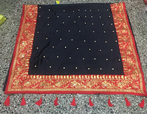 Gorgeous Black Silk Saree Heavy Embriodery Lace With Latkan