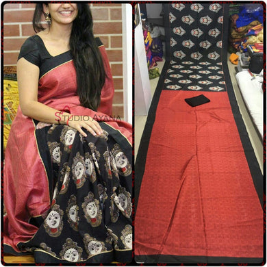 Red And Black Colour Saree Exclusive Beautiful Designer Bollywood Indian Partywear Sari