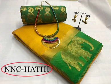 Yellow Colour Woven Hathi Saree Exclusive Beautiful Designer Bollywood Indian Partywear Sari 193