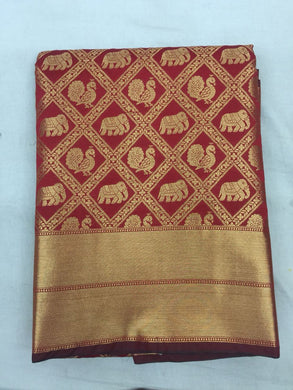 Red Colour Banarasi Silk Saree Exclusive Beautiful Designer Bolywood Indian Partywear Sari 196