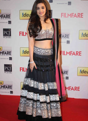 Black Net Lengha Exclusive Beautiful Designr Bollywood Indian Ethnic Partywear 50