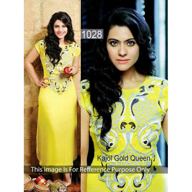 Yellow Colour Kurti  India Stylish Designer Bollywood Kameez Dress Women 506