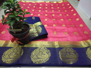 New Trendy Latest Designer Multi-colour Tusser Silk Saree With Contrast Running Blouse And Border