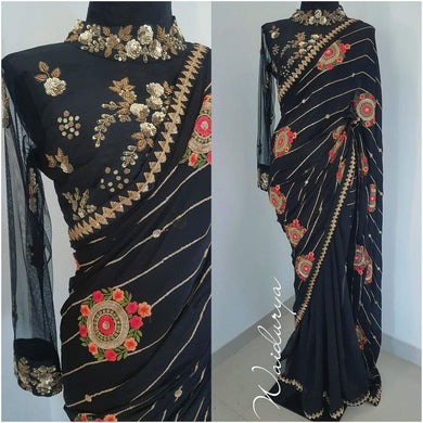 Black Georgette Attractive Hot Selling Saree 529
