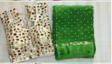 Green Colour Pure Georgette Moti Saree Semi Stitched Blouse 850
