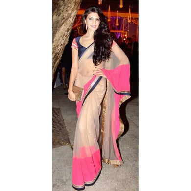 Beige And Pink Saree Exclusive Beautiful Designer Bollywood Indian Partywear Sari 98
