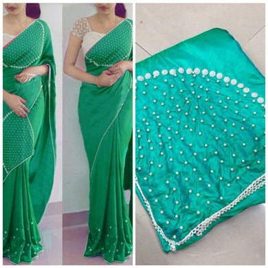 Light Seagreen Colour Attractive Lattest Fancy Paper Silk Moti Handwork Saree With Blouse