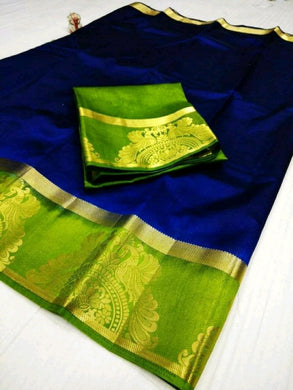 Multicolor  Trendy Tusser Silk Original Boutique Saree With Contrast Border And Blouse