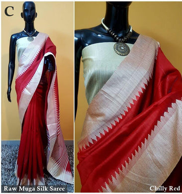 Red Colour New Designer Raw Murga Silk Original Boutique Saree With Blouse