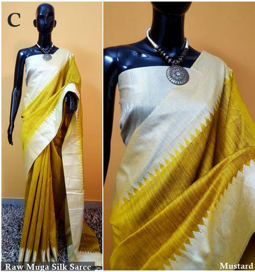 Yellow Colour New Designer Raw Murga Silk Original Boutique Saree With Blouse