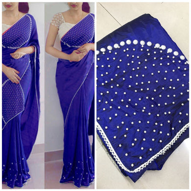 Blue Colour Attractive Lattest Fancy Paper Silk Moti Handwork Saree With Blouse