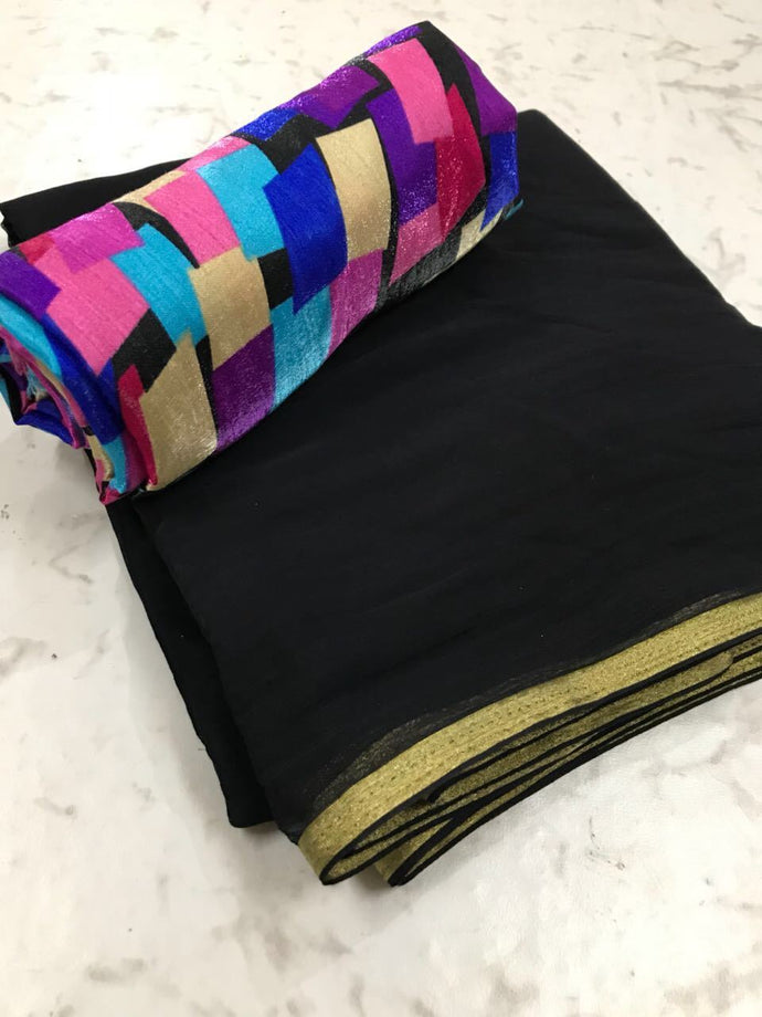 Black Colour Trendy Hotselling Georgette Saree With Digital Print Blouse