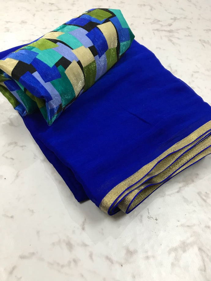 Blue Colour Trendy Hotselling Georgette Saree With Digital Print Blouse