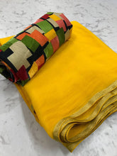 Yellow Colour Trendy Hotselling Georgette Saree With Digital Print Blouse
