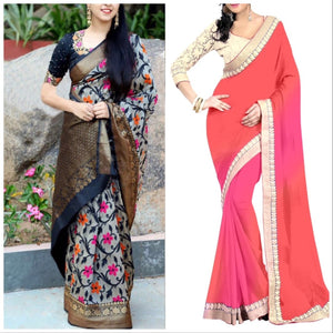 Multi Colour Zarna Print Saree And Georgette Saree Combo Of 2 Beautiful Designer Partywear Saree