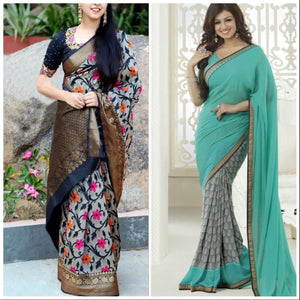 Multi Colour Combo Of 2 Beautiful Designer Partywear Zarna Silk And Georgette Saree