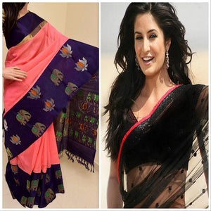 Multi Colour Digital Print And Black Net Combo Of 2 Beautiful Indian Designer Partywear Saree
