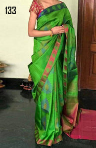 Multicolor Hot Selling Latest Bangalori Zarna Silk Digital Print Saree 133