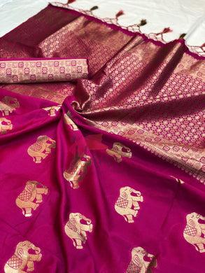Pink Colour Trendy Attractive Banarasi Silk Rich Pallu Saree Gyana