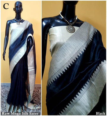 Black Colour New Designer Raw Murga Silk Original Boutique Saree With Blouse